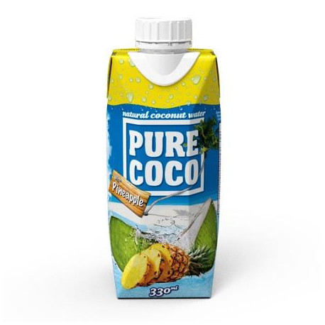 Pure Coco 100% kokosová voda s příchutí ananasu